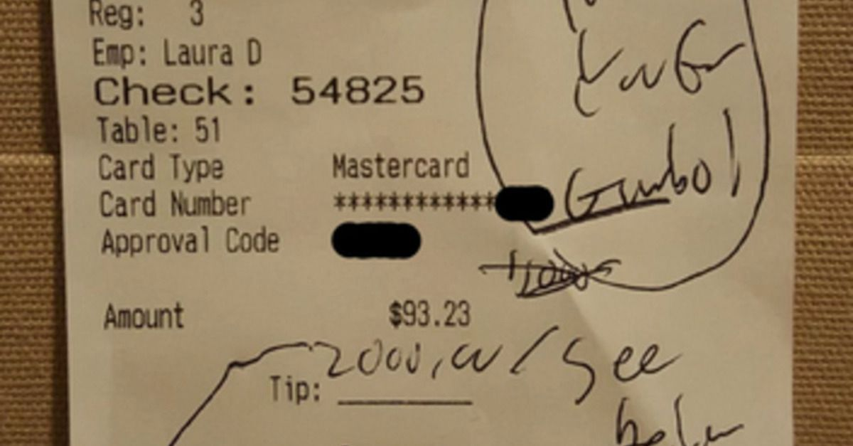 Restaurant customer expresses gratitude with a $2,000 tip