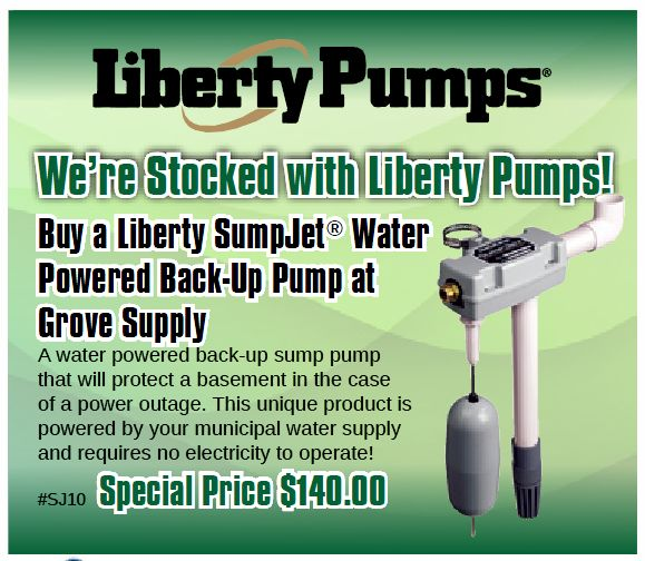 Until April 30, 2017 get this special price on Liberty Pumps SJ10