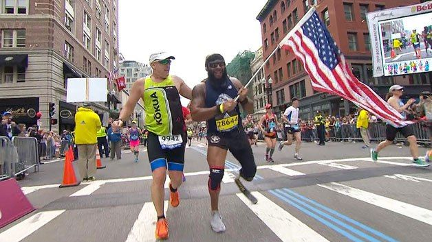 Amputee Runs Boston Marathon With American Flag To Inspire Others