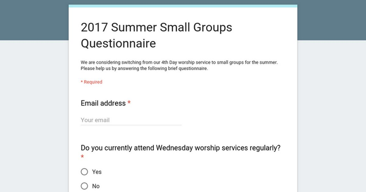 2017 Summer Small Groups Questionnaire
