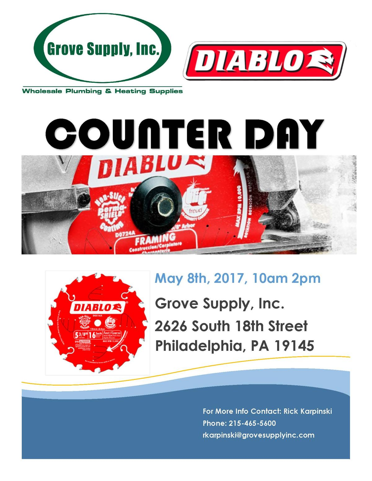 Diablo Tools Counter Day at Grove Supply South Philadelphia