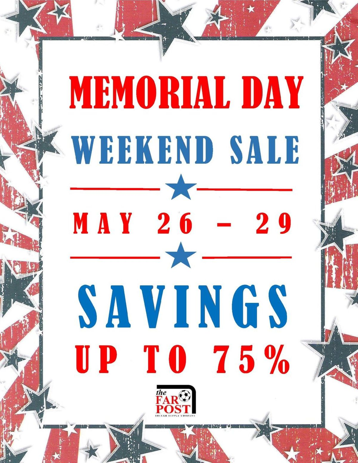 Far Post Soccer Supply Posted Memorial Day Weekend Sale