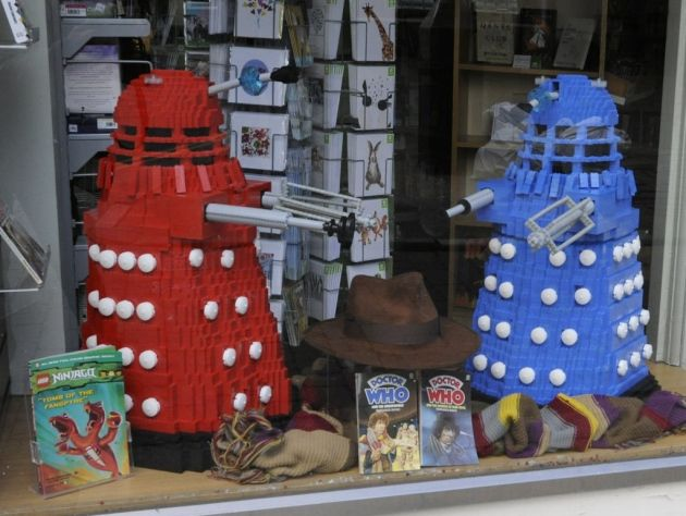 Lego daleks causing a stir in charity shop window