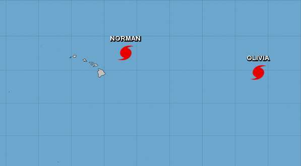 The forecasts for hurricanes Norman and Olivia, which are brewing in the Pacific