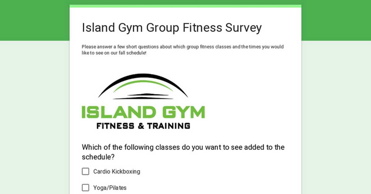 Island Gym Group Fitness Survey