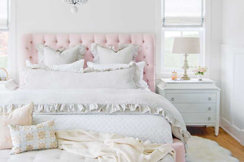Jillian Harris's master suite is filled with feminine frills