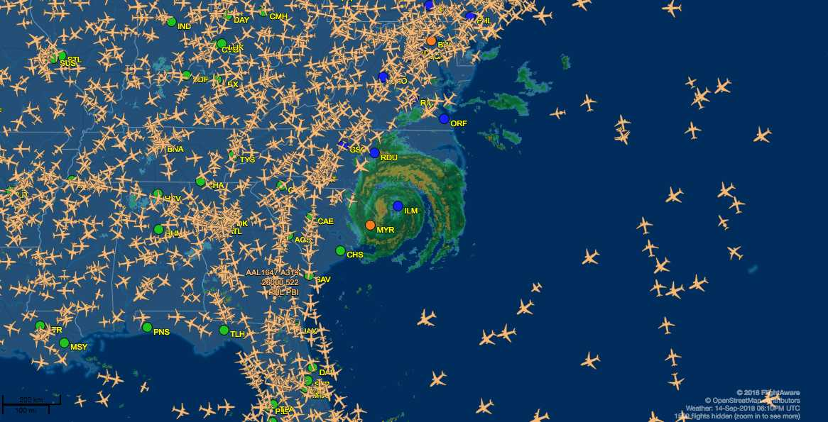 Live map shows planes on the East Coast flying around Florence