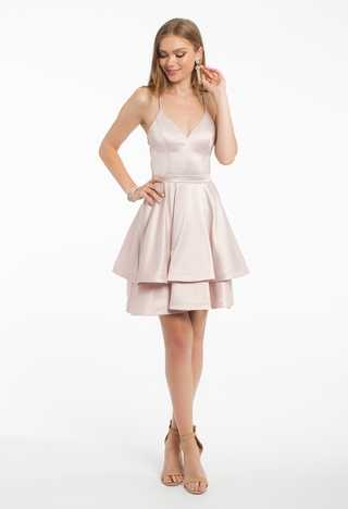 Satin Tiered With Lace Back Dress