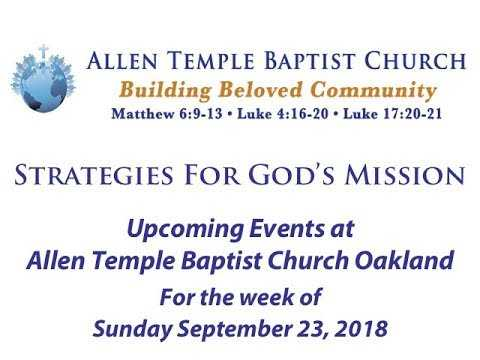 Upcoming Events at Allen Temple Baptist Oakland for the week of 9/23/18