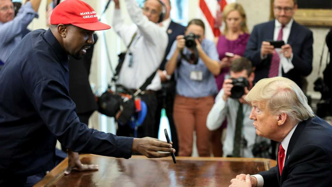 Kanye's free-style riffs dominate Oval Office meeting with Trump