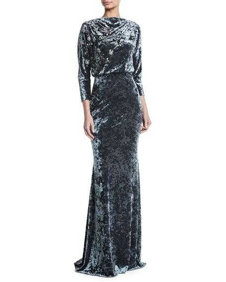 Badgley Mischka Collection Long-Sleeve Blouson-Top Beaded Crushed Velvet Evening Gown