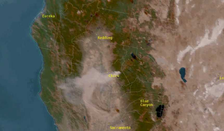 Camp Fire in Northern California is already visible from space