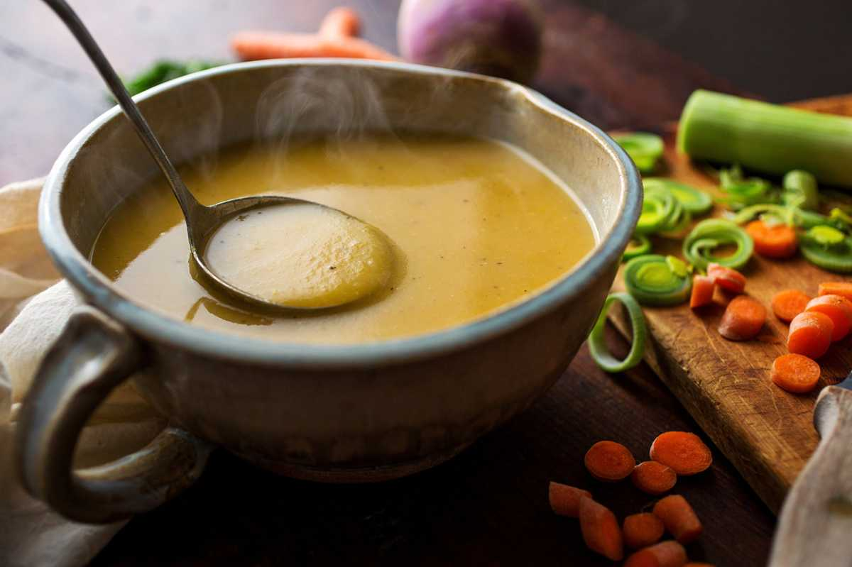 Winter Vegetable Soup With Turnips, Carrots, Potatoes and Leeks Recipe