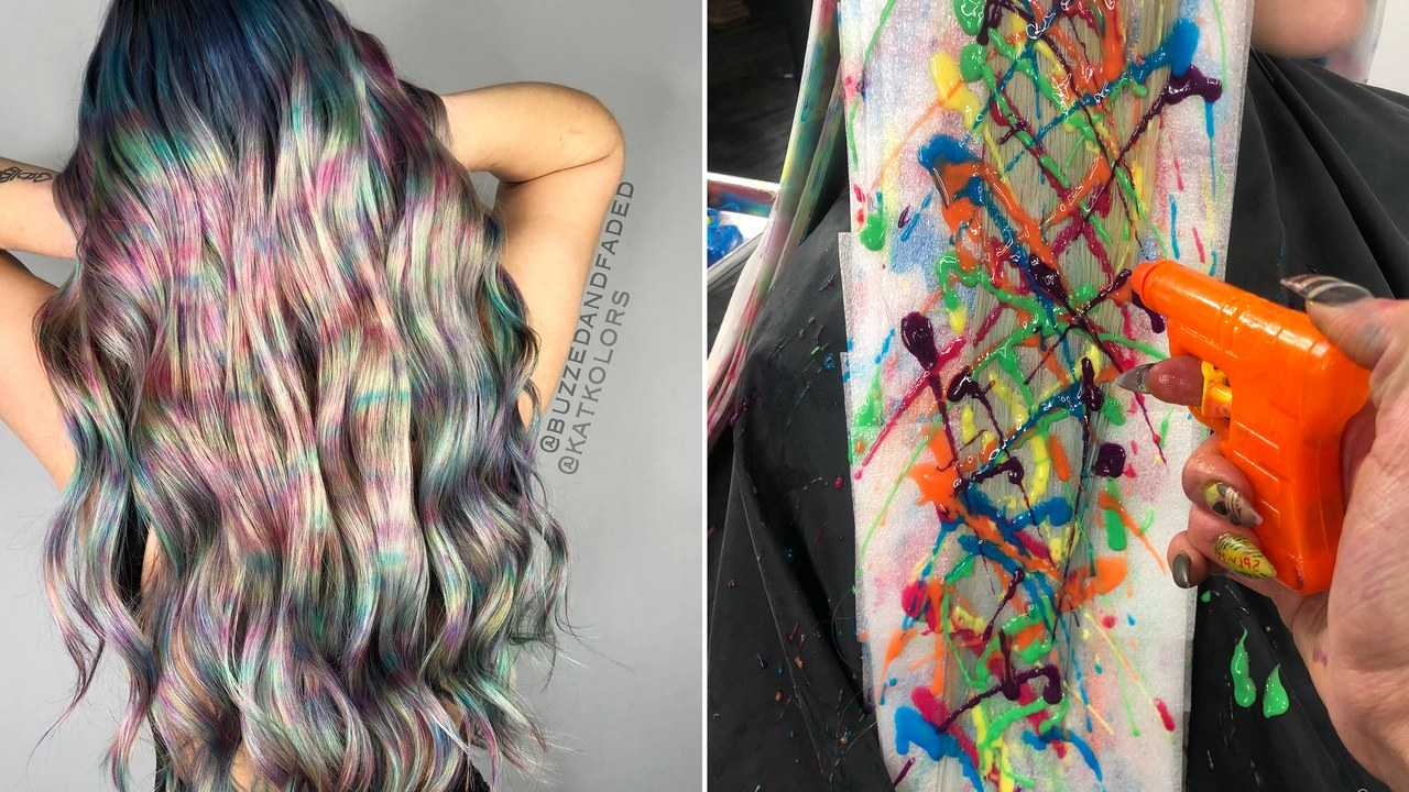 These Hairstylists Used WATER GUNS to Create This Stunning Rainbow Hair
