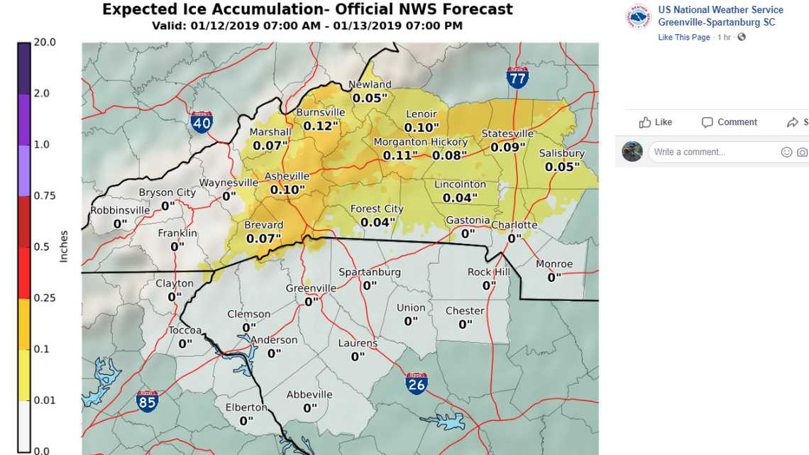 Snow in the NC mountains and ice along I-40. Forecast less certain for Charlotte area