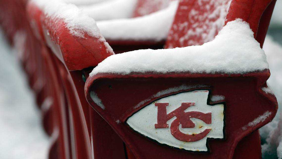 Check out the snowy conditions at Arrowhead Stadium ahead of Saturday's game