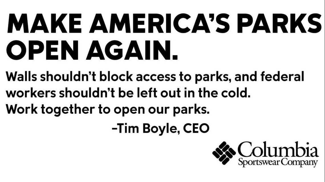 'Make America's parks open again': Columbia Sportswear ad takes aim at government shutdown