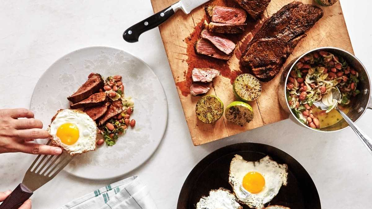 No Time for Breakfast? No Problem. Steak and Eggs with Saucy Beans Are What's For Dinner