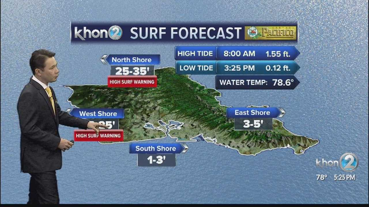 Parts of the state under a high surf warning starting Saturday morning