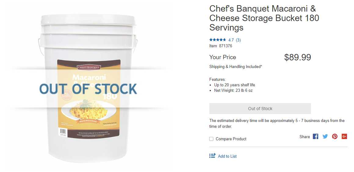 You can get a 27-pound bucket of mac & cheese for $90 at Costco