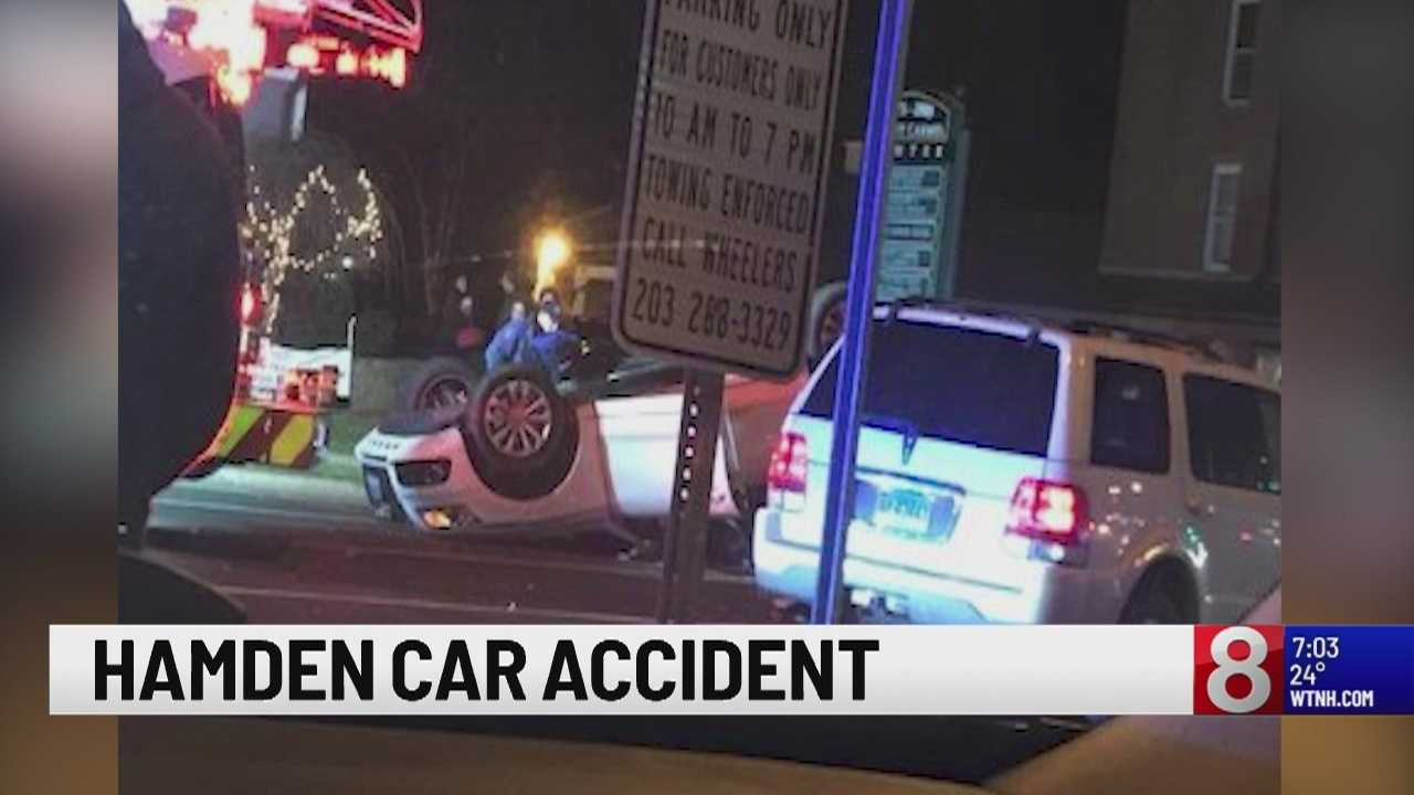 Car ends up on its roof during Hamden crash