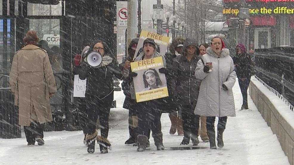 Human trafficking survivors brave the snow for survivor's march