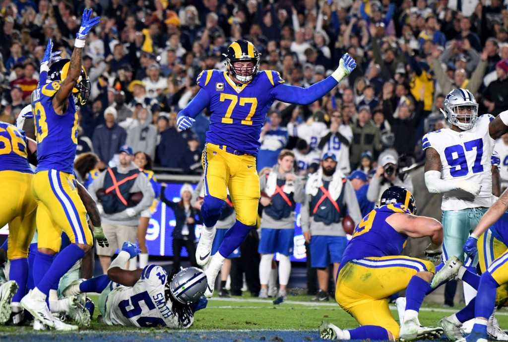 Whicker: Rams' big fellows carry the day in the playoff win over Dallas Cowboys