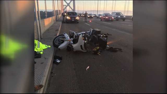 CHP motorcycle officer injured in collision with big-rig on Bay Bridge