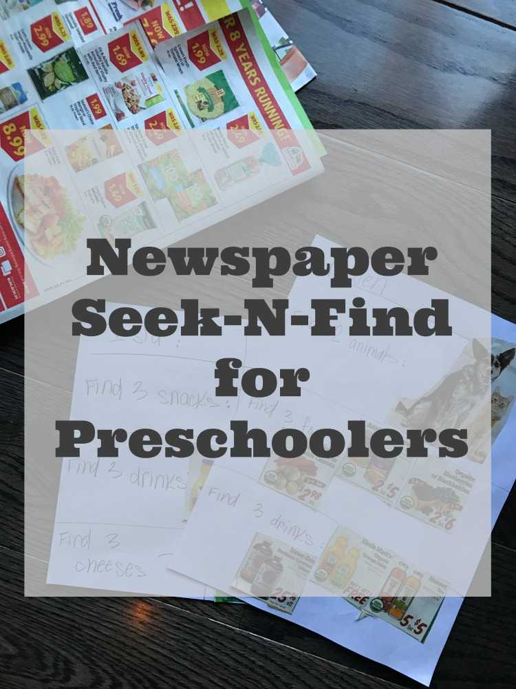 Make Your Own Seek And Find Games for Preschoolers With Newspaper Ads
