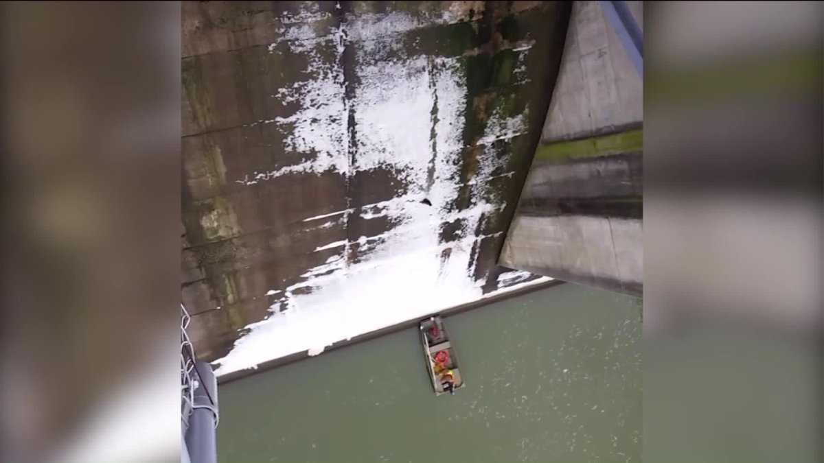 Dramatic video shows cat sliding down Indiana dam into rescuer's arms