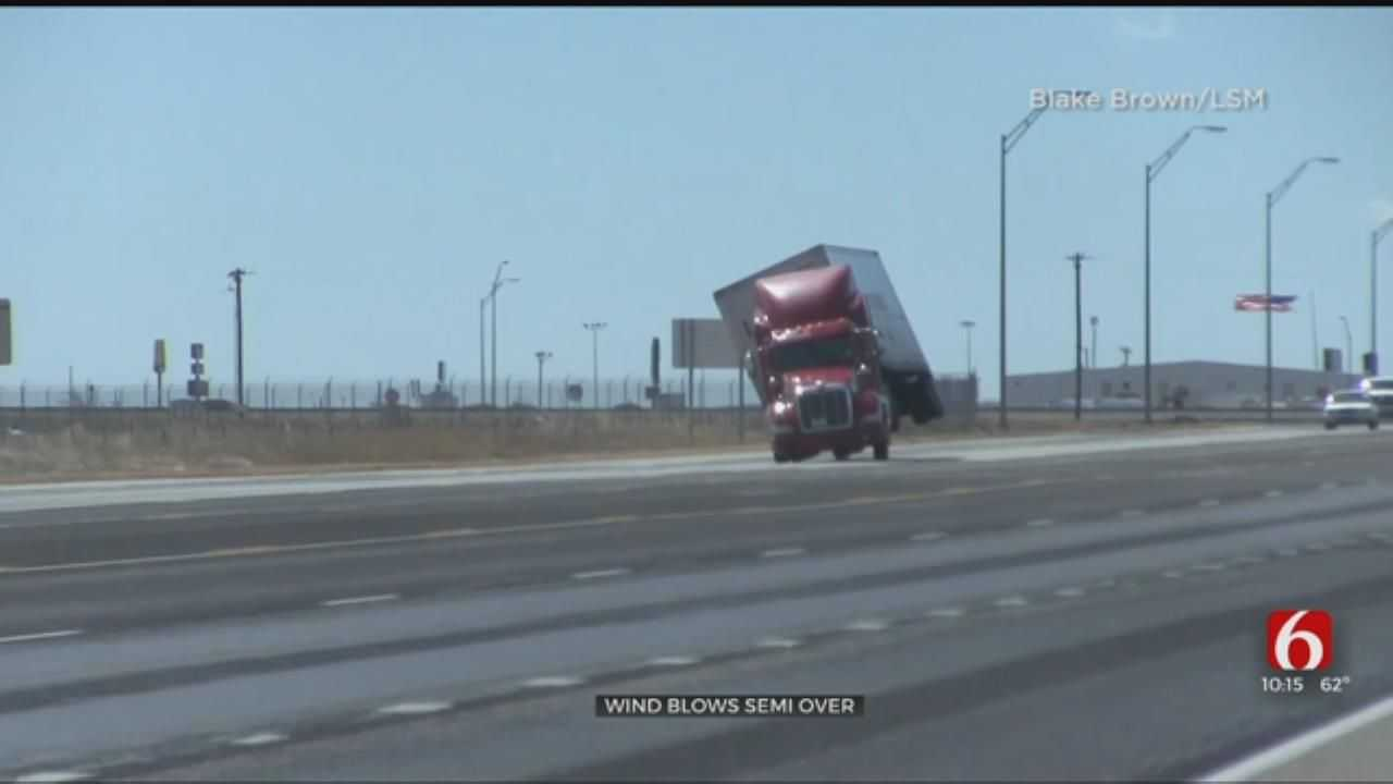 WOW: 80-MPH Winds Knock Over Semi-Truck