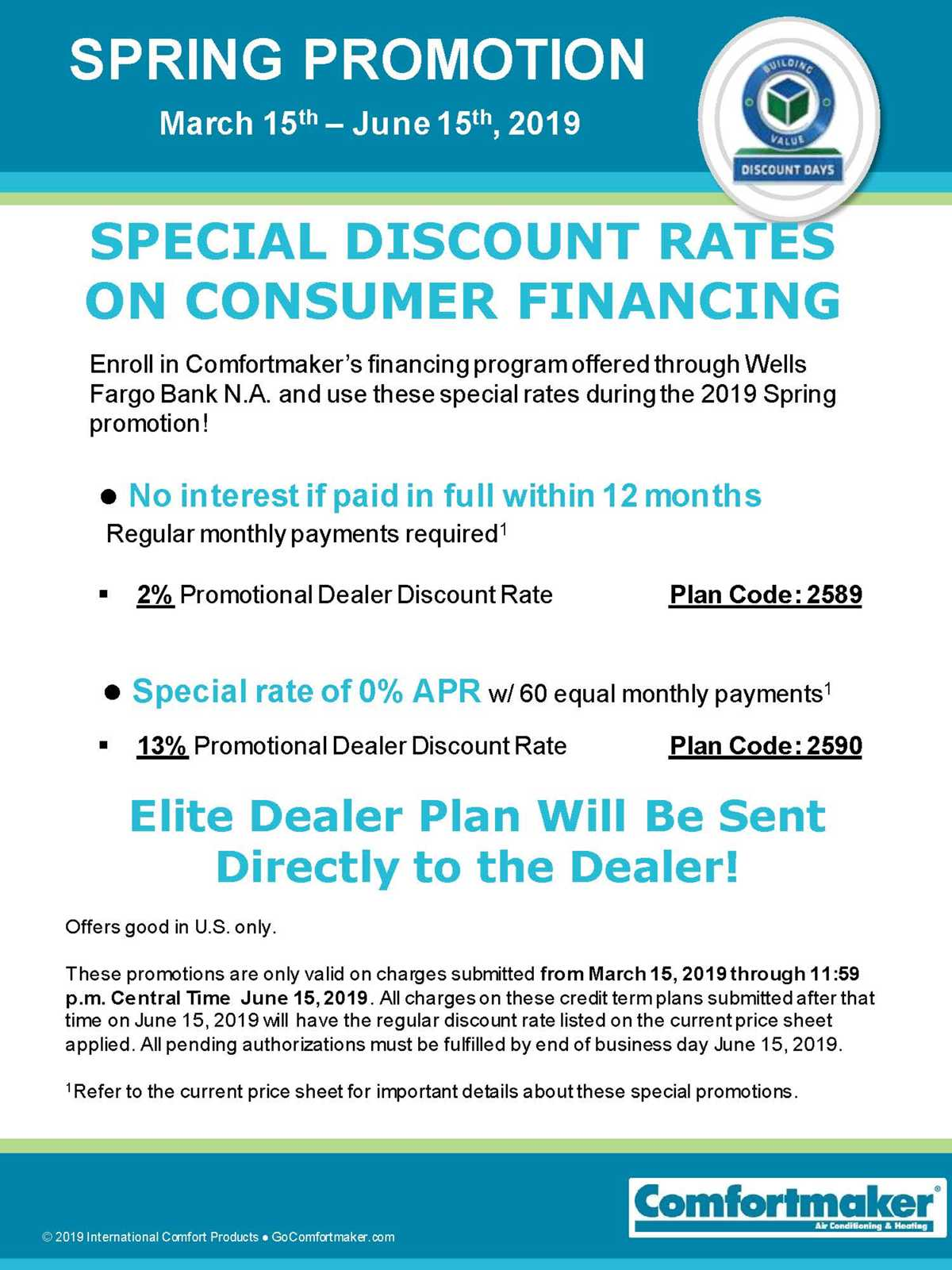Comfortmaker Limited Time Special Discount Financing Rates