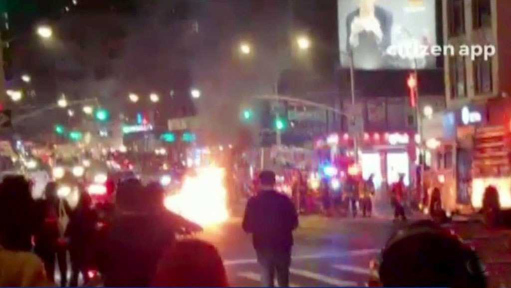 Car Bursts Into Flames On Canal Street In Chinatown