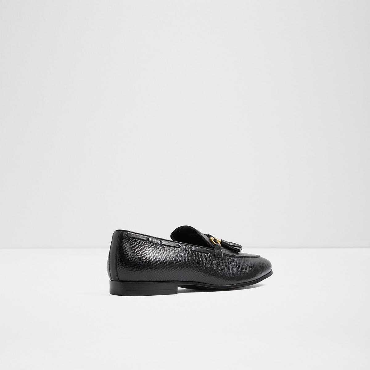 Olaleviel Black Leather Embossed Men's Loafers