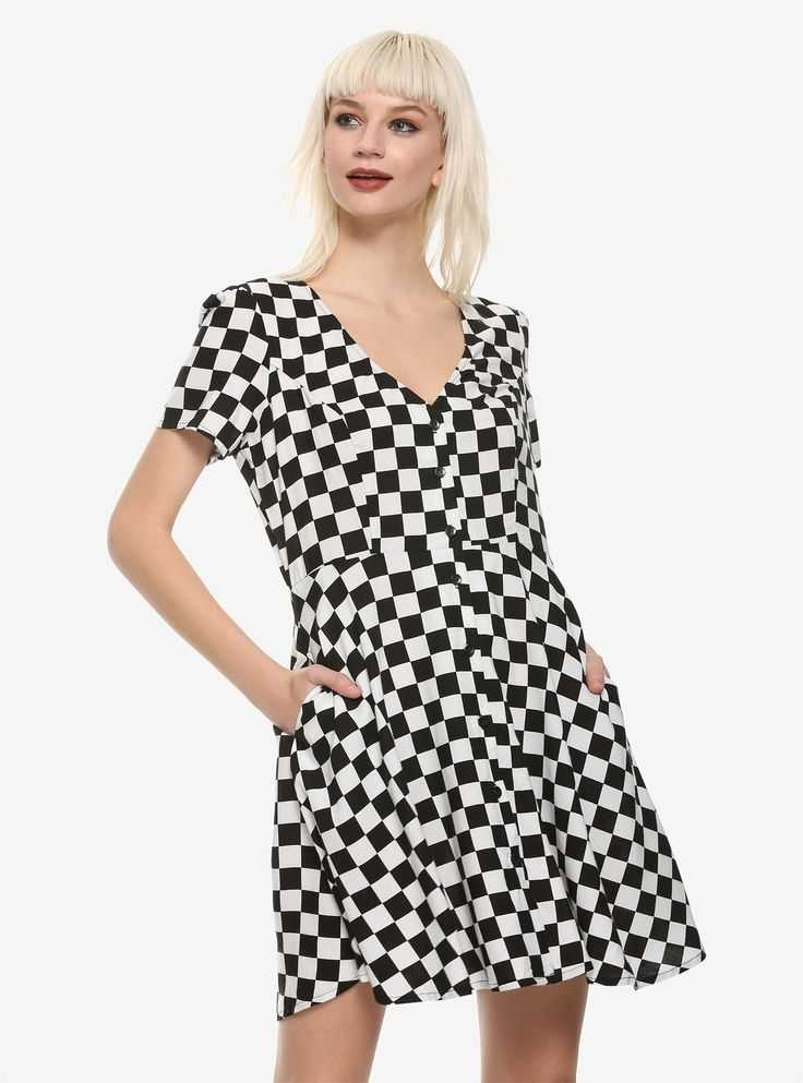 Black & White Checkered Button Front Dress