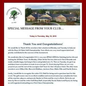 CCL's Thank you and Congratulations!