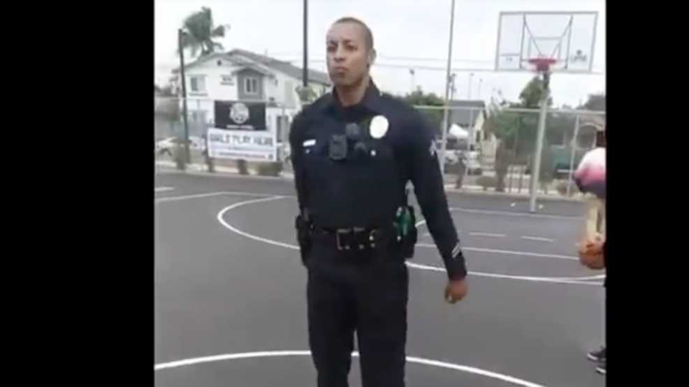 LAPD officer hits basketball trick shot to delight of neighborhood kids