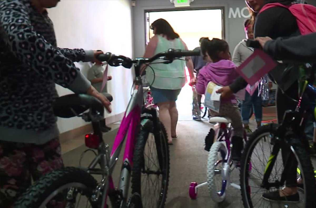 Hundreds of kids given free bikes at annual bike giveaway