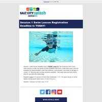 Session 1 Swim Lesson Registration Deadline is TODAY