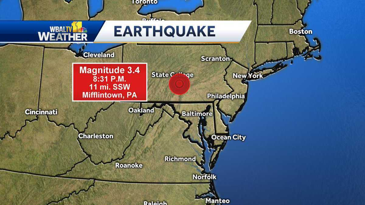 Earthquake in Pennsylvania felt in parts of Maryland