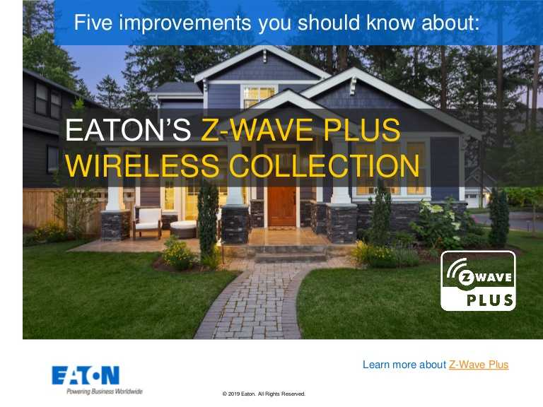 Eaton's Z-Wave Plus wireless collection