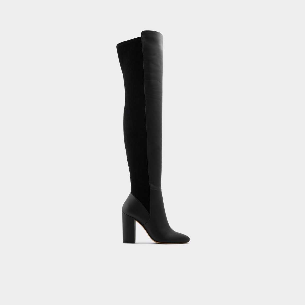 Ibeaviel Black Textile Mixed Material Women's Over-the-knee boots