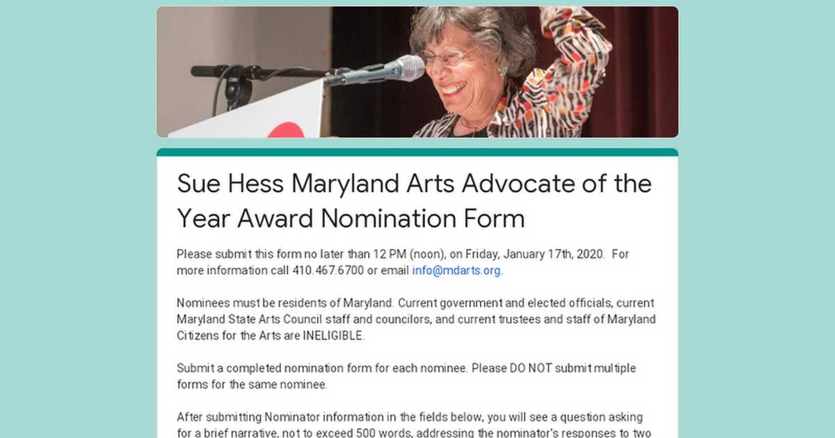 Sue Hess Maryland Arts Advocate of the Year Award Nomination Form