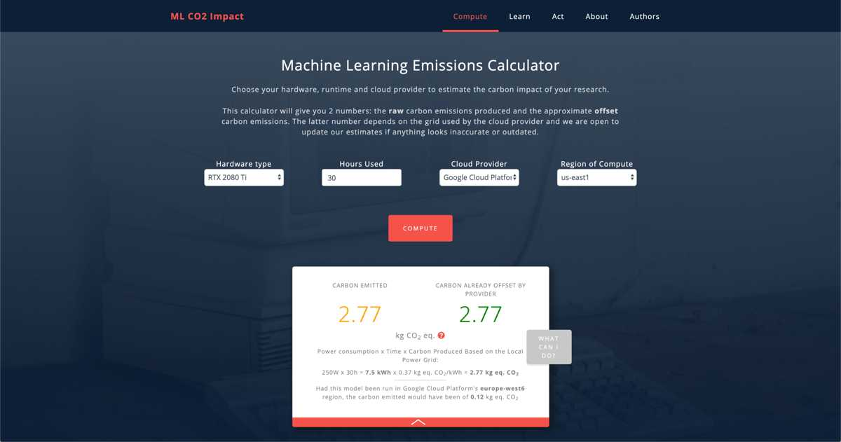 Machine Learning CO2 Impact Calculator