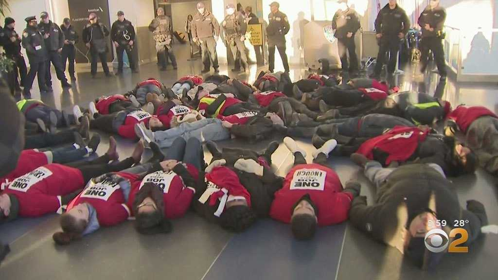 Nearly 3 Dozen Airline Employees Arrested During Protest At JFK Airport