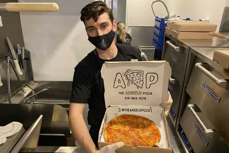Angelo Pizza is his name, and he just opened a shop in Old City Philadelphia